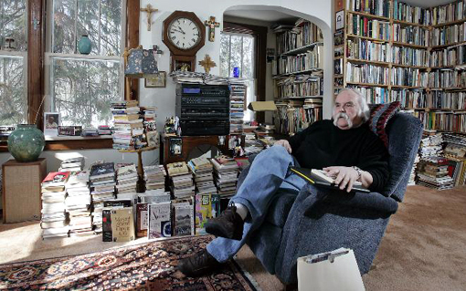 Door County author Norbert Blei filled the living room of his home in Ellison Bay with books.