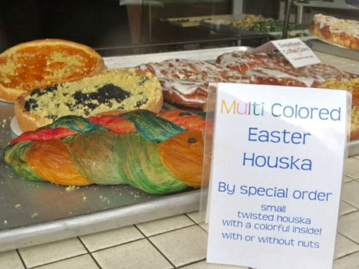 and braiding colorful houska for Easter: