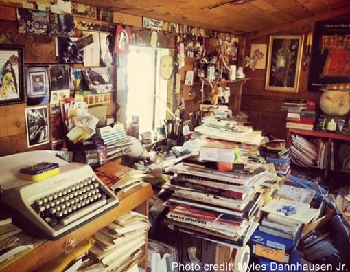 The interior to Blei's writer's studio reflects a man with many ideas and avenues for exploration. - Photo by Myles Dannhausen Jr.
