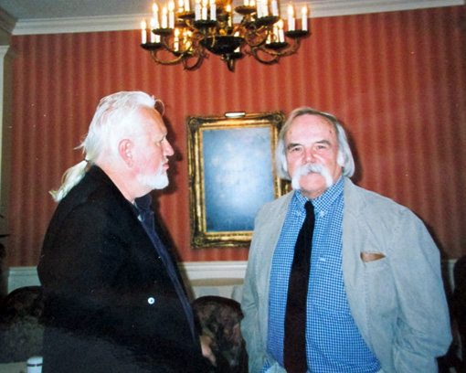 Norbert Blei (on the left) & John Lehman, who presented the Award to Norbert Blei in 1999 (John Lehman is the Founder and Editor-at-large of Rosebud, a Literary Magazine)